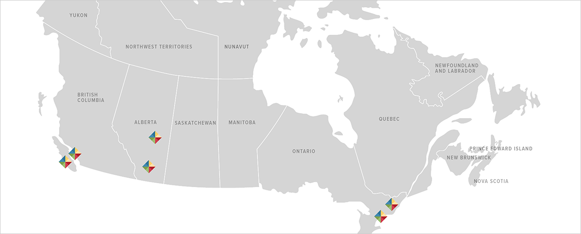 A map of Canada, with each of the Modern Niagara offices indicated on the map with a diamond logo..